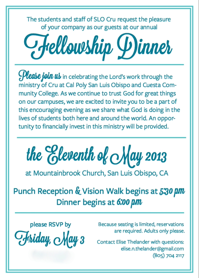 SLO Cru Fellowship Dinner: Saturday May 11th | Faculty Commons SLO
