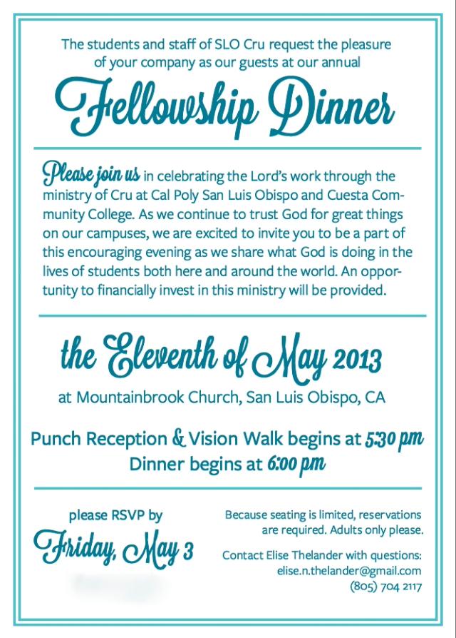 Fellowship Dinner INVITE